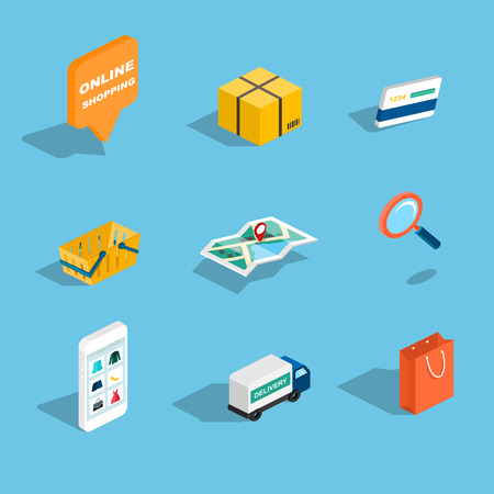 shopping cart online shop: Set of sale and shopping flat 3d isometric icons. Vector illustration.