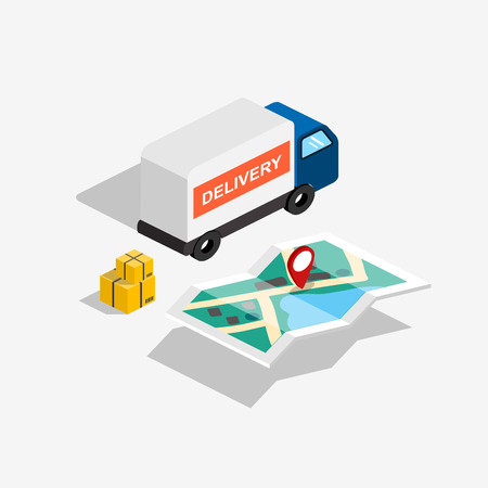 Flat 3d isometric delivery car with route map and boxes. Vector illustration.