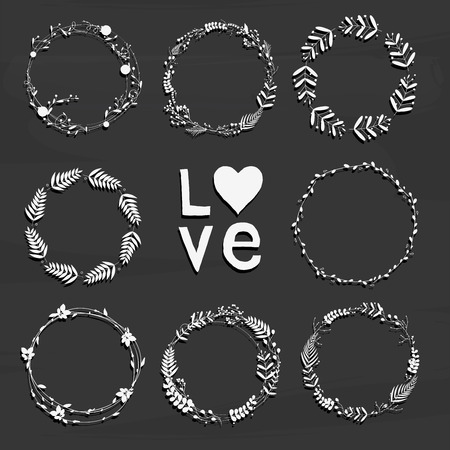 Set with floral wreaths. Template for wedding, mothers day, birthday, invitations. Vector