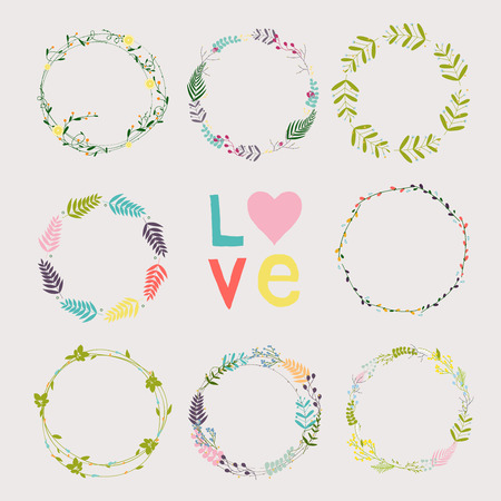 Set with floral wreaths. Template for wedding, mothers day, birthday, invitations.