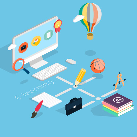 Flat 3d isometric concept of online education. Monitor and icons set vector illustration.