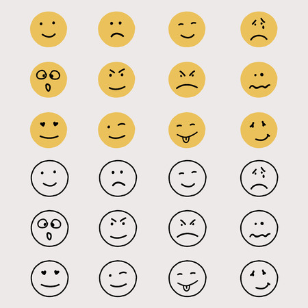 smileys: Set of hand drawn emoticons or smileys. Illustration