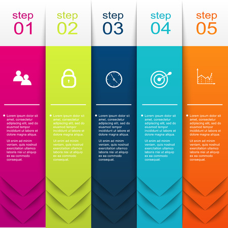 texts: Vector colorful info graphics for your business presentations. Can be used for info graphics, graphic or website layout vector, numbered banners, diagram, horizontal cutout lines, web design.