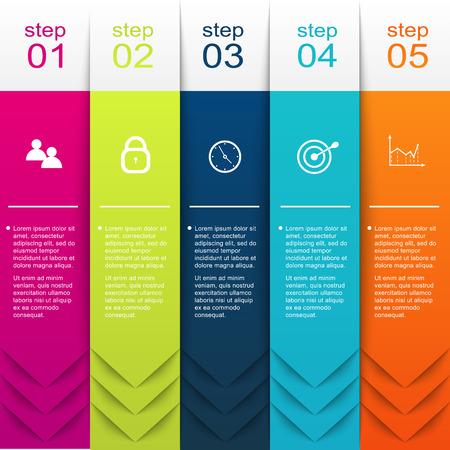 cronogramas: Vector colorido infografías para sus presentaciones. Puede ser utilizado para información de gráficos, gráfico o sitio web de diseño vectorial, carteles numerados, diagrama, líneas de corte horizontal, diseño de páginas web. Vectores