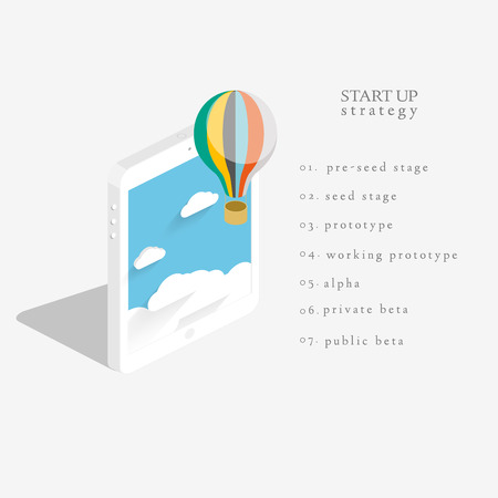 Flat 3d isometric vector design of the startup process, cloud storage, responsive web design and SEO with hot air balloon Vector