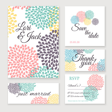 Wedding invitation card set. Thank you card, save the date cards, RSVP card, just married card.
