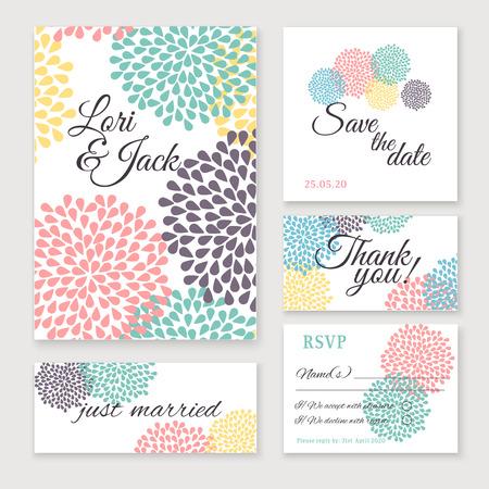 caes: Conjunto de la tarjeta de invitación de boda. Gracias a la tarjeta, guardar las tarjetas de fecha, tarjeta de RSVP, tarjeta de recién casados.
