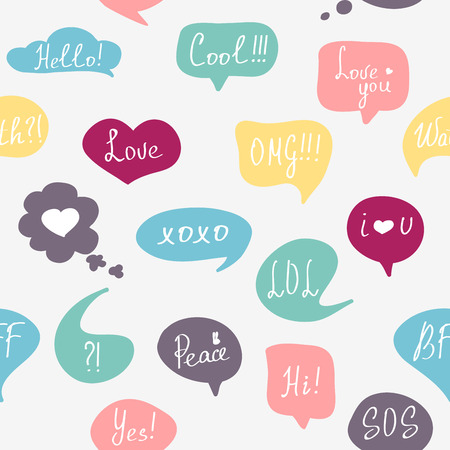Colorful questions speech bubbles pattern in flat design with short messages. Vector
