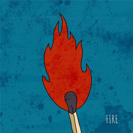 match: Cartoon burning match. Vintage illustration.