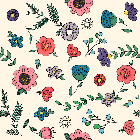 lowers: Seamless pattern with flowers, vector illustration.