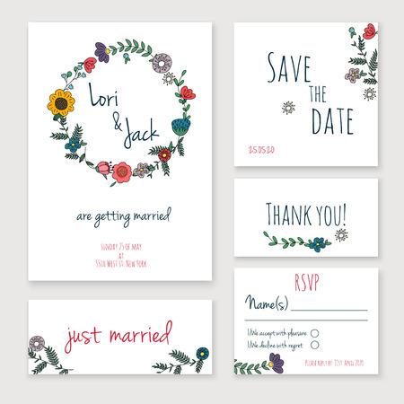 Conjunto de la tarjeta de invitación de boda. Gracias a la tarjeta, guardar las tarjetas de fecha, tarjeta de RSVP, tarjeta de recién casados.