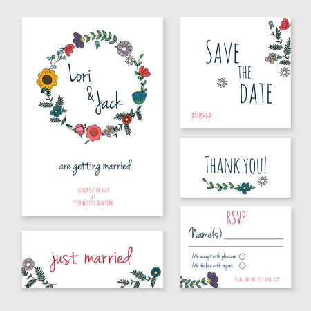 dattes: Mariage carton d'invitation réglée. Merci carte, enregistrer les cartes de date, carte de RSVP, carte vient de se marier. Illustration