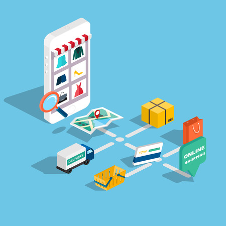 electronics store: Flat 3d web isometric e-commerce, electronic business, online shopping, payment, delivery, shipping process, sales, black friday infographic concept vector. tablet buy button.