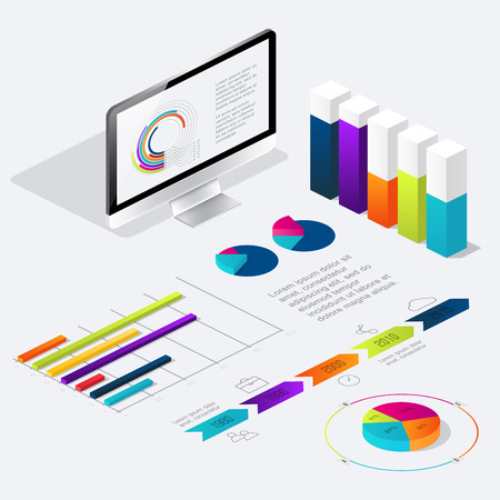 oncept: Flat 3d isometric infographic for your business presentations. Can be used for infographics, graphic or website layout vector, diagram,  web design. �oncept vector