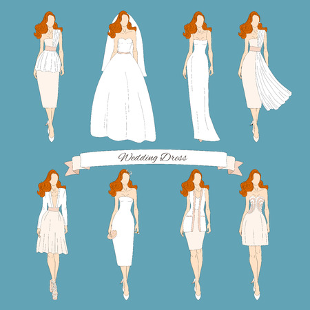 perfect female body: Wedding draw dresses set. Bridal vector. Illustration