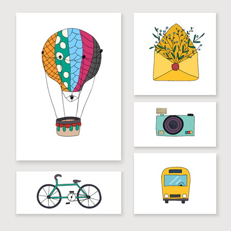 touring car: 'ards with travel hand draw objects: balloon, bike, bus, camera, letter. Illustration