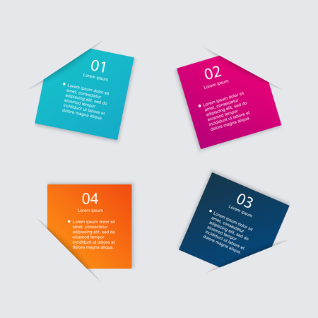 Set of colorful text box with steps, trendy colors. Vector illustration can be used for workflow layout, diagram, number options, web design. Illustration