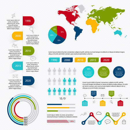 Business data market elements dot bar pie charts diagrams and graphs flat icons set. Can be used for info graphics, graphic or website layout vector, numbered banners, diagram. Vector illustration. Ilustração