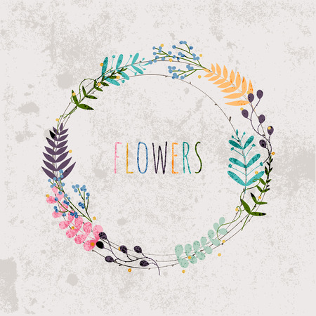 wedding decor: Spring flowers, leaves, dandelion, grass on a vintage background. Design for invitation, wedding or greeting cards.