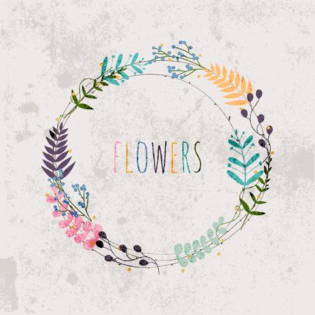Spring flowers, leaves, dandelion, grass on a vintage background. Design for invitation, wedding or greeting cards.