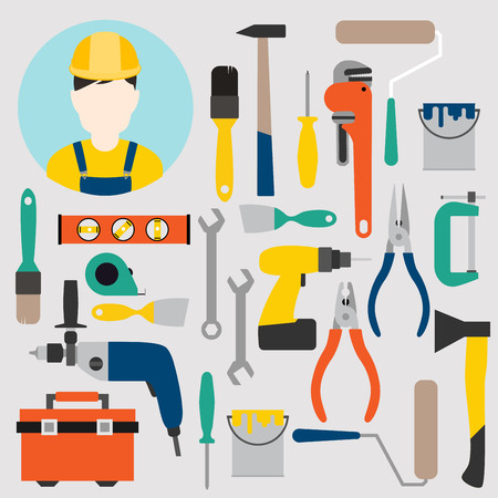 Color tools for repair and home improvement. Vector illustration. Illustration