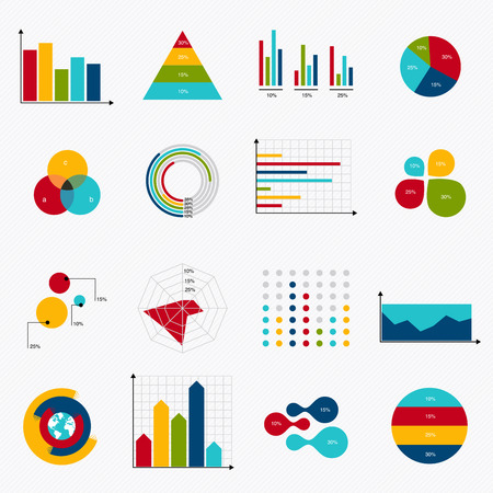 charts: Business data market elements dot bar pie charts diagrams and graphs flat icons set. Can be used for info graphics, graphic or website layout vector, numbered banners, diagram, horizontal cutout lines, web design. Vector illustration.
