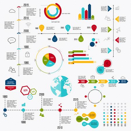 유행: 비즈니스 데이터 시장 요소 바 파이 차트 다이어그램과 평면 아이콘을 설정 그래프를 점. 정보 그래픽, 그래픽 또는 웹 사이트 레이아웃 벡터, 번호 배 일러스트