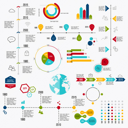 market trends: Business data market elements dot bar pie charts diagrams and graphs flat icons set. Can be used for info graphics, graphic or website layout vector, numbered banners, diagram, horizontal cutout lines, web design. Vector illustration.