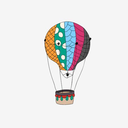 hot colors: Hand drawn retro air balloon