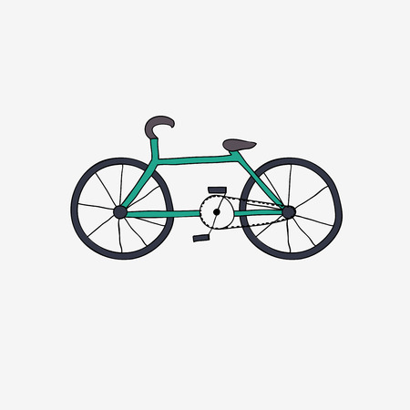 bicicleta vector: y dibujar bicicleta. Ilustración del vector.