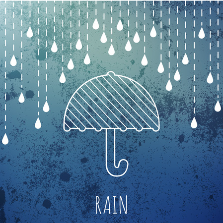 raining: Raining and umbrella on a vintage blur background. Vector illustration.