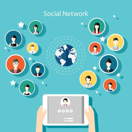 communication: Social Network-Konzept Vector. Flache Design Illustration für Web-Seiten, Informationsgrafik-Design mit menschlichen Hand mit Tablet-Avatare. Communication Systems and Technologies. Illustration