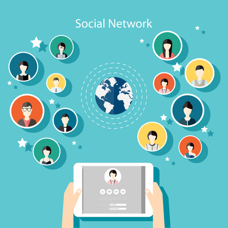 communication: Social Network Vector Concept. Flat Design Illustration for Web Sites Infographic Design with human hand with tablet avatars. Communication Systems and Technologies.