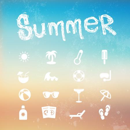 de zomer: Vector zomer icon set op een onscherpe achtergrond strand.