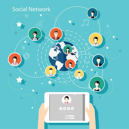 circulo de personas: Social Network Concept Vector. Ilustración Diseño Piso en Sitios Web Infografía Diseño con la mano humana con los avatares de la tableta. Sistemas de Comunicación y Tecnologías. Vectores