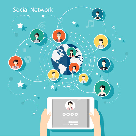 social web sites: Social Network Vector Concept. Flat Design Illustration for Web Sites Infographic Design with human hand with tablet avatars. Communication Systems and Technologies.
