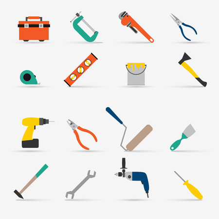 rollerbrush: Color tools for repair and home improvement. Vector illustration. Illustration
