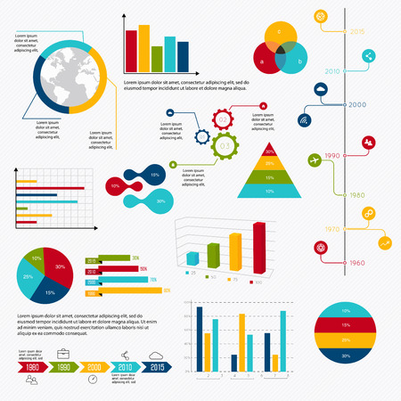 Business data market elements dot bar pie charts diagrams and graphs flat icons set. Can be used for info graphics, graphic or website layout vector, numbered banners, diagram, horizontal cutout lines, web design. Vector illustration. Imagens - 40447259