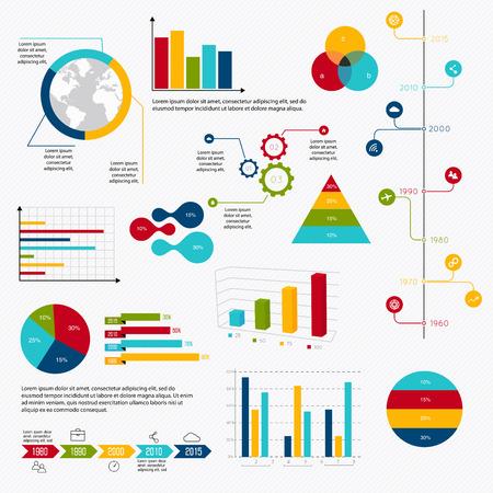 Elementos de mercado de datos comerciales salpican gráficos circulares bar diagramas y gráficos iconos planos establecidos. Puede ser utilizado para información de gráficos, gráfico o sitio web de diseño vectorial, carteles numerados, diagrama, líneas de corte horizontal, diseño de páginas web. Ilustración del vector.
