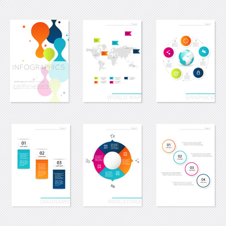 graphic design: Set of infographics elements in modern flat business style. Can be used for info graphics, graphic or website layout vector, numbered banners, diagram, flyer, corporate report, marketing etc, web.