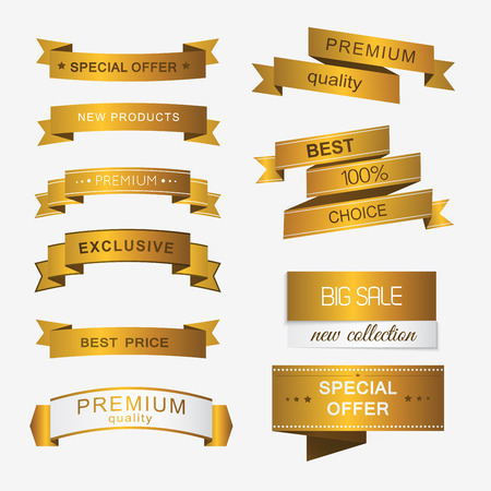 scroll: Collection of golden premium promo banners. isolated vector illustration