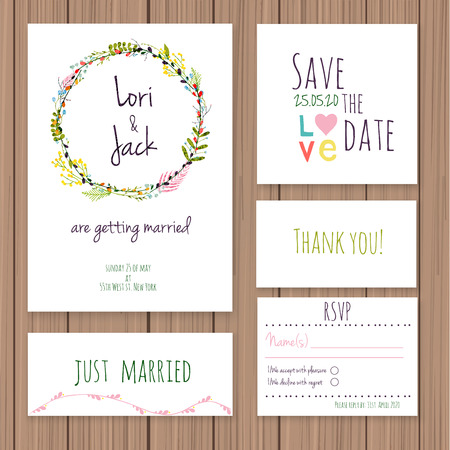 a wedding: Wedding invitation card set. Thank you card, save the date cards, RSVP card, just married card.