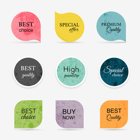 prices: Collection of vintage promo sealsstickers. Isolated vector illustration