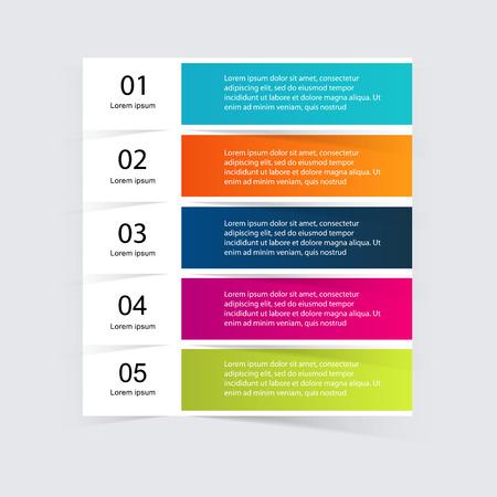 Vector colorido infografías para sus presentaciones. Puede ser utilizado para información de gráficos, gráfico o sitio web de diseño vectorial, carteles numerados, diagrama, líneas de corte horizontal, diseño de páginas web. Foto de archivo - 41368886