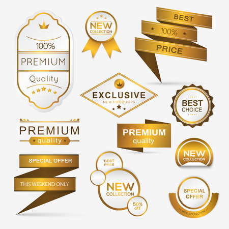 sale sticker: Collection of golden premium promo sealsstickers. isolated vector illustration Illustration