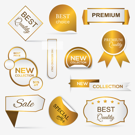 Collection of golden premium promo sealsstickers. isolated vector illustration Illustration