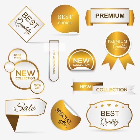 Verzameling van gouden premium promo zeehonden / stickers. geïsoleerde vector illustratie Stockfoto - 41369013