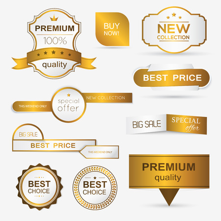 Verzameling van gouden premium promo zeehonden / stickers. geïsoleerde vector illustratie Stockfoto - 41369018