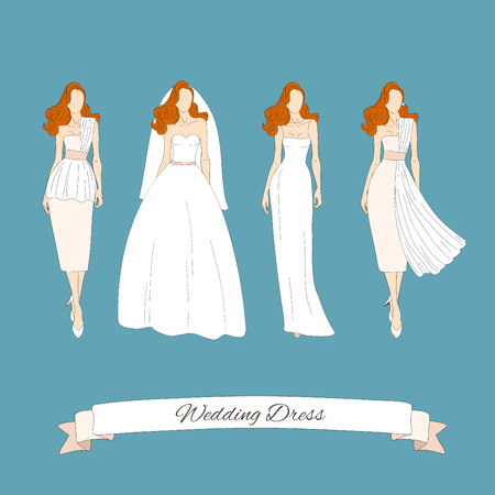 human body silhouette: Wedding draw dresses set. Bridal vector. Illustration