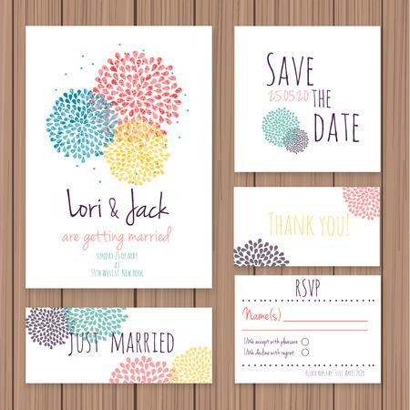 Conjunto de la tarjeta de invitación de boda. Gracias a la tarjeta, guardar las tarjetas de fecha, tarjeta de RSVP, tarjeta de recién casados. Ilustración de vector